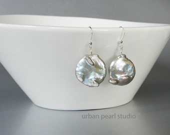 Large Pearl Earrings Gray Baroque Pearl Earrings Grey Drops