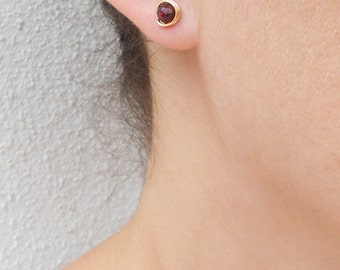 Special SALE - Gold garnet earrings, Garnet stud earrings, January birthstone