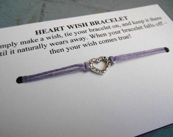 Heart Wish Bracelet - Wish Bracelet - Heart Bracelet - Party Favor - Wishing Bracelet - Heart Charm Bracelet - Love - Wedding Favor - Gift