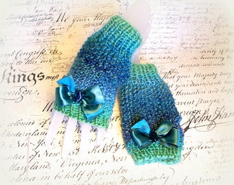 Emerald  Fingerless Gloves Handmade Knit  Mittens  Arm Warmers Half Finger Gloves