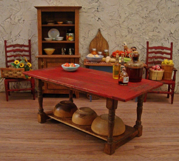 Blood Red Rustic Plank Top Kitchen Work Table 1:12 Scale