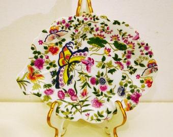 "Eda Mann Thousand Butterflies Flowers on Porcelain Leaf Dish 8"" X 6.5"" (20.32cm X 16.51cm)"