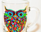 Owl Coffee Mug, Mosaic Tea Cup, Hand Painted Colorful Glass Mug Gift for her