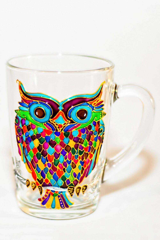 Owl coffee mug mosaic cup hand painted colorful mug for How to paint a mug