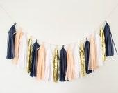 Peach and Navy Blue Tassel Garland - Peach Party Decor, Peach and Navy Baby Shower, Peach and Navy Nursery Decor, Peach and Navy Party Decor