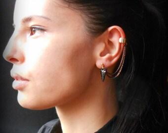 Spike ear cuff earrings with Swarovski crystals, Rock Style, Black earrings