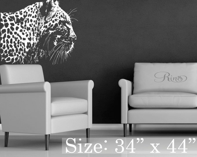Large Leopard Extremely detailed Premium WALL DECAL vinyl sticker panthers cheetath prints wild cat white tiger home decor