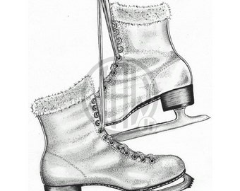Ice Skates Pen and Ink Drawing