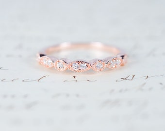 Rose Gold Wedding Band - Art Deco Ring - Stacking Ring - Eternity Ring - Wedding Ring - Promise Ring - Vintage Ring - Sterling Silver