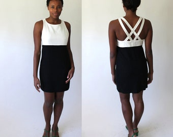 Black & White Vintage Two-Toned Dress with Criss Cross Back