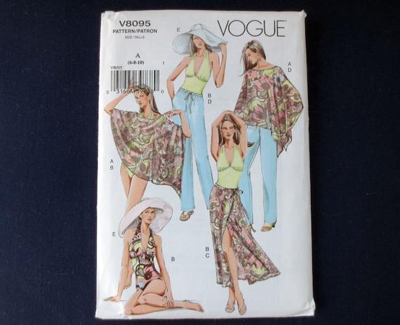 Bathing Suit, Poncho & Wrap Skirt Coverups, Pants and Hat Uncut Pattern, Vogue 8095, Size 6, 8, 10, Bust 31, 32