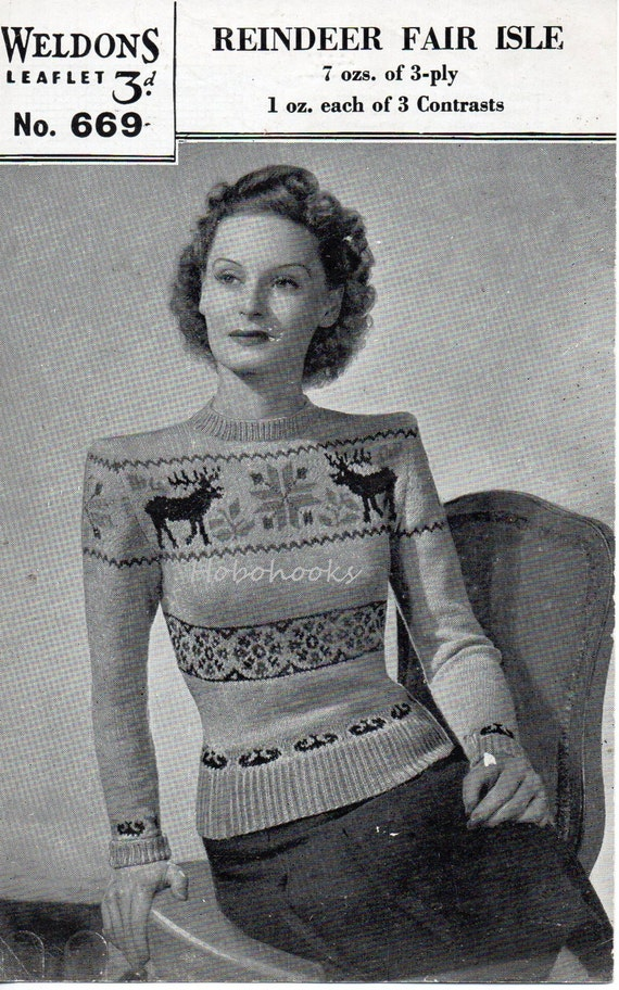 Womens Knitting Pattern 1930s Womens Fair Isle Sweater Reindeer ...