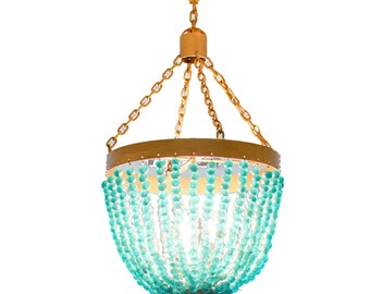 Recycled Glass Turquoise Handmade Chandelier
