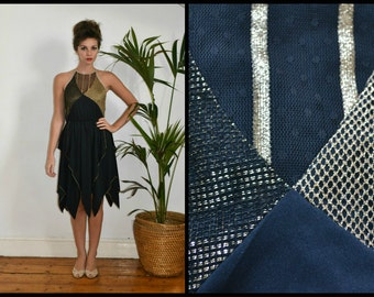 "Avant Garde Vintage ""Mister Ant"" Black and Gold Disco Party Dress with Handkerchief Hem Size S"