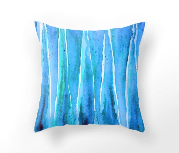Throw Pillows Aqua Blue : DECORATIVE THROW PILLOW aqua blue pillow case watercolor