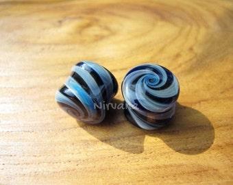 """Exotic Light Blue & Cobalt Blue Candy Spiral Glass Plugs 4g 2g 0g 00g 7/16"""" 1/2"""" 9/16"""" 5/8"""" 3/4"""" 1""""  5 mm 6 mm 8 mm 9.5 mm 10 mm 12 mm 25 mm"""