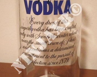 Vase from Empty Bottle Absolut Vodka 1 L. Idea gift wedding Xmas Christmas