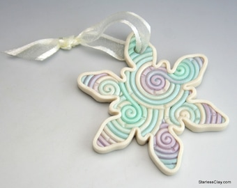 Snowflake Christmas Ornament in Pastel Filigree