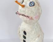 Primitive Folk Art Snowman Winter Holiday Paper Mache Art Doll OOAK