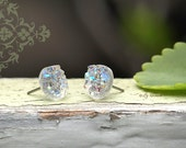 Faux Druzy Stud Earrings. Clear Glitter Druzie Posts. 10 mm Faux Drusy Posts. Ice Glitter Earrings.