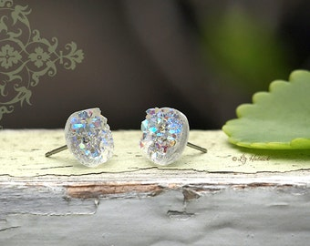 Faux Druzy Stud Earrings. Clear Glitter Druzie Posts. 10 mm Faux Drusy Posts. Ice Glitter Earrings.