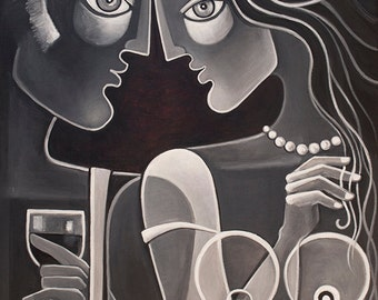 Cubist Abstract painting Original Acrylic artwork on canvas The Flirt Marlina Vera Fine Art Modern Picasso style Couple in love Lovers
