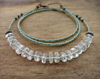Mint Green Quartz Necklace, dainty clear quartz crystal heishi and seed bead necklace, rustic Bohemian style jewelry