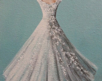 """Wedding Gown Painting, Wedding Dress, Bridal Gown, Wedding Gown Portrait -  """"Waiting for The Day""""."""