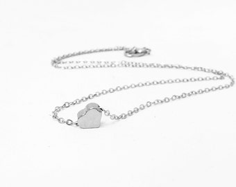 Get 15% OFF -  Dainty Small Brass Silver Plated Heart Charm Necklace - Labor Day SALE 2016