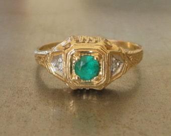 Art Deco Engagement Ring-Emerald Engagement-Unique Engagement Ring-1920s Engagement Ring-Diamond Engagement Ring-May-Vintage Emerald Ring