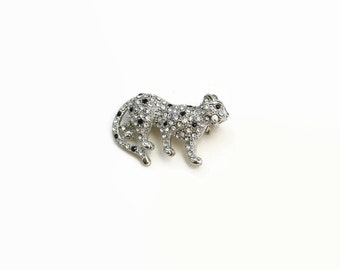 1970's Jaguar Brooch- Retro Rhinestone Animal Brooch