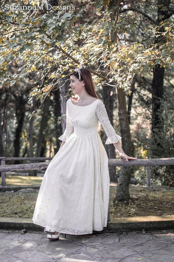 Cream Ivory 50s Wedding Dress Full Skirt Bridal Dress Original 50s Style Bridal Dress Tea Length Dress - Handmade by SuzannaM Designs