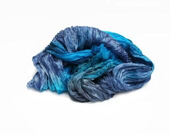 silk scarves,  hand dyed silk scarf, silk scarf - November Success - turquoise, grey blue.