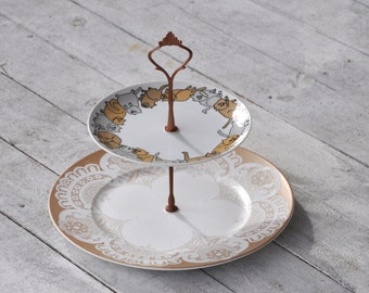 Crazy Cat Lady: Lace Doilies and Kitty Cats, 2 Tier Whimsical Serving Stand. Tan and Gray