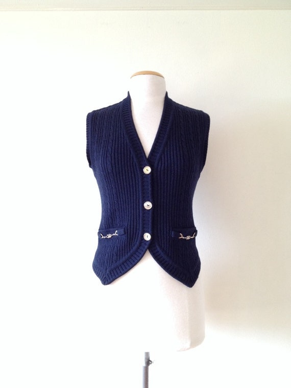Women'S Sweater Vest Navy M 118