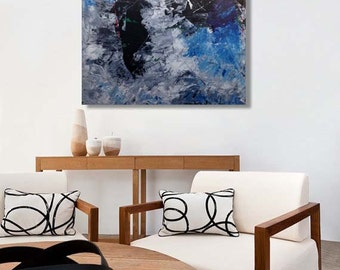 ORIGINAL BLUE ABSTRACT Free Shipping Canvas Painting 100 cm Modern Blue Painting Color Large Wall Art Heavy Texture Abstract Acrylic Canvas