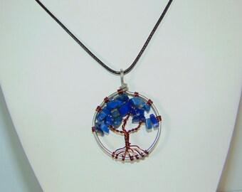 Tree of Life Lapis Lazuli Pendant Necklace (md.)