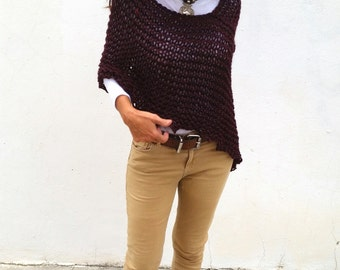 Last Unit. Knit poncho sweater, burgundy wool wrap, fall trends, burgundy poncho, knitwear trends