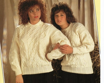 womens cable sweater knitting pattern 30-38inch DK womens knitting pattern PDF instant download