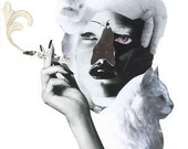 SMOKING CAT LADY Collage Print / Black & White / Art / Woman / Cat (sizes a4 - a3)