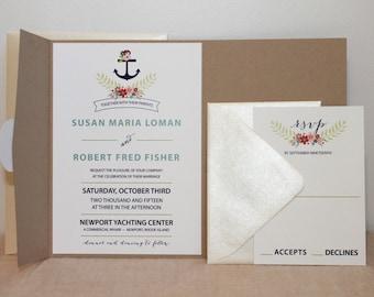 Nautical Floral Pocket Invitation