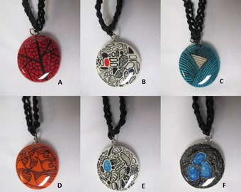 ABSTRACT ART Clay Pendant Black Hemp Necklace  - You Choose One (1)