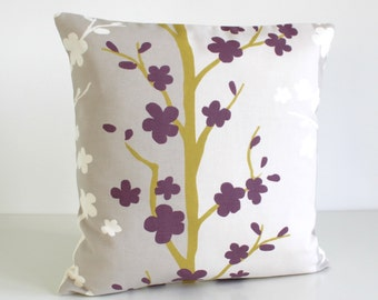 Purple Pillow Cover, Scandinavian Pillow Cover, Purple Pillow Cover, Pillowcase, Throw Pillow, Cushion Cover, - Nordic Blossom Aubergine