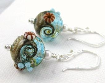Ocean earrings, Aqua blue wave earrings, Beach jewelry, Lampwork earrings, Glass bead earings, Blue ivory sea jewelry
