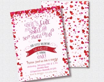 Heart Birthday Invitation, Printable, Valentine Invite, Pink and Red Confetti, She's Cute and Sweet And So Much Fun, Sweetheart, 1st, First