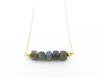 Gemstone Bar Necklace, Labradorite Necklace, Beaded Bar Necklace, Cube Necklace, Layering Jewelry, Gemstone Necklace