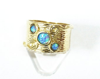 Amazing handcrafted fire opal 14k 14ct gold plated ring blue stone size 5 6 7 8 9 gp new, gold opal ring, gold plated ring, blue stone ring