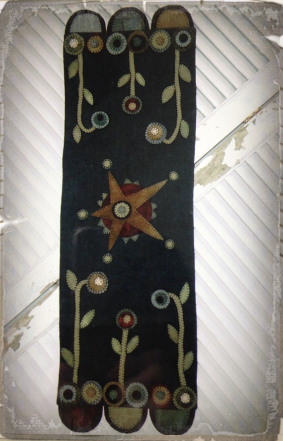 Pattern Rustic Star Table Runner Wool Applique By Heart To