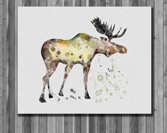 MOOSE - Art Print, instant download, Watercolor Print, poster