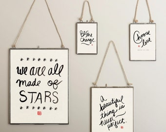 We Are All Made of Stars // Instant Digital Download, Printable Poster, Brush Art, Minimal, Black and White, Inspirational Quotes, Stars